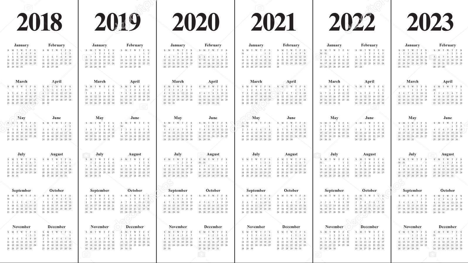 3 Year Calendars Printable - Bance
