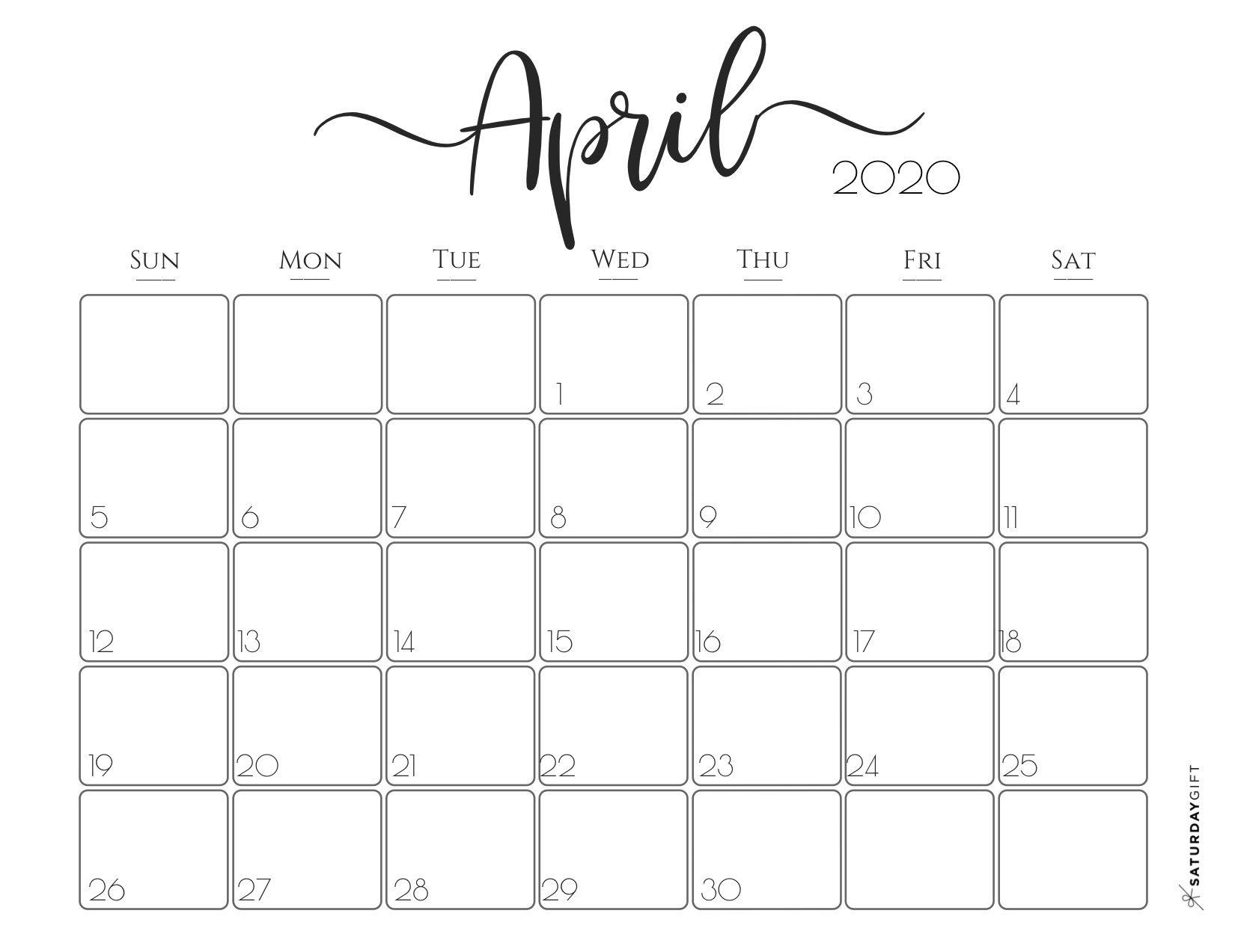30 Best Free Printable April 2020 Calendars - Onedesblog