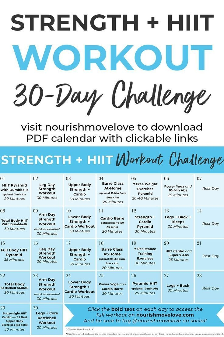 30-Day Advanced Strength + Hiit Workout Plan | 30 Day