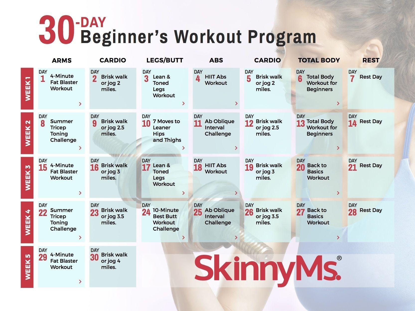 30-Day Beginner's Workout Calendar | Workout Calendar