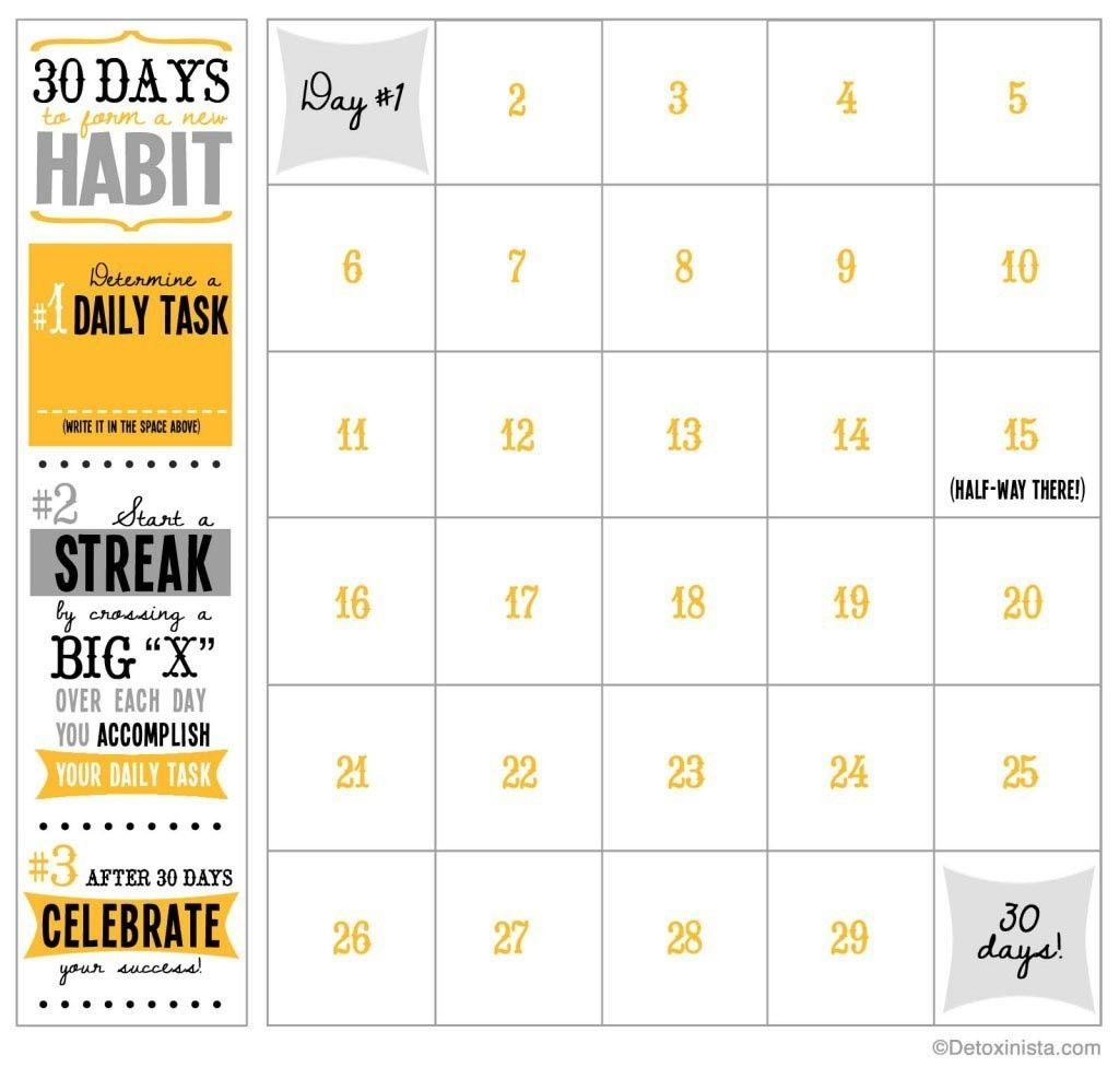30 Day Calendar Template (With Images) | Workout Calendar