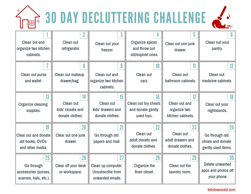 30 Day Declutter Challenge - Free Printable Guide - List