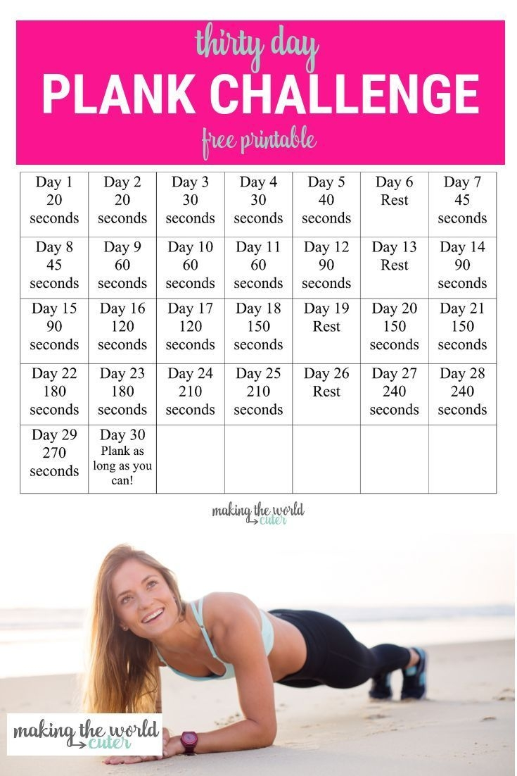 30 Day Plank Challenge Chart   30 Day Plank Challenge, 30