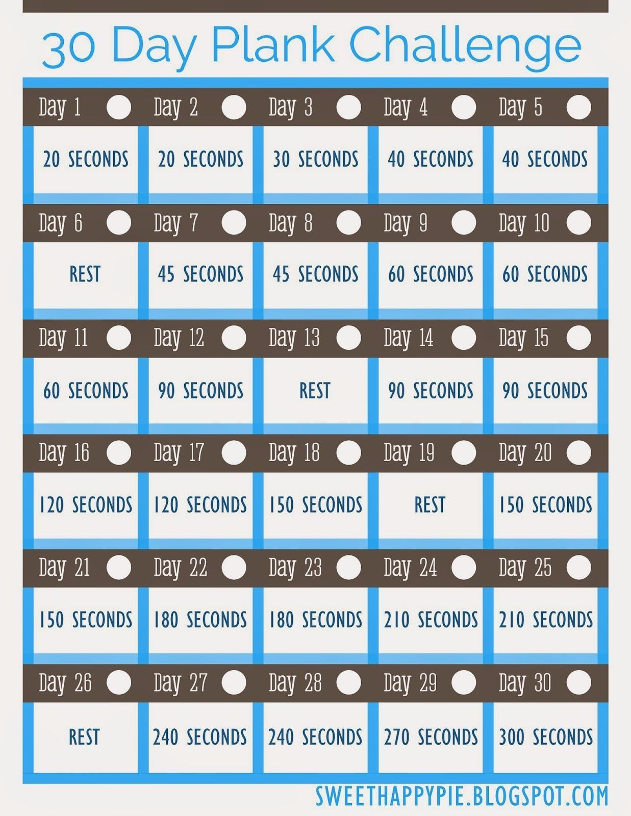 30 Day Plank Challenge ~ Free Pretty Printable! | 30 Day