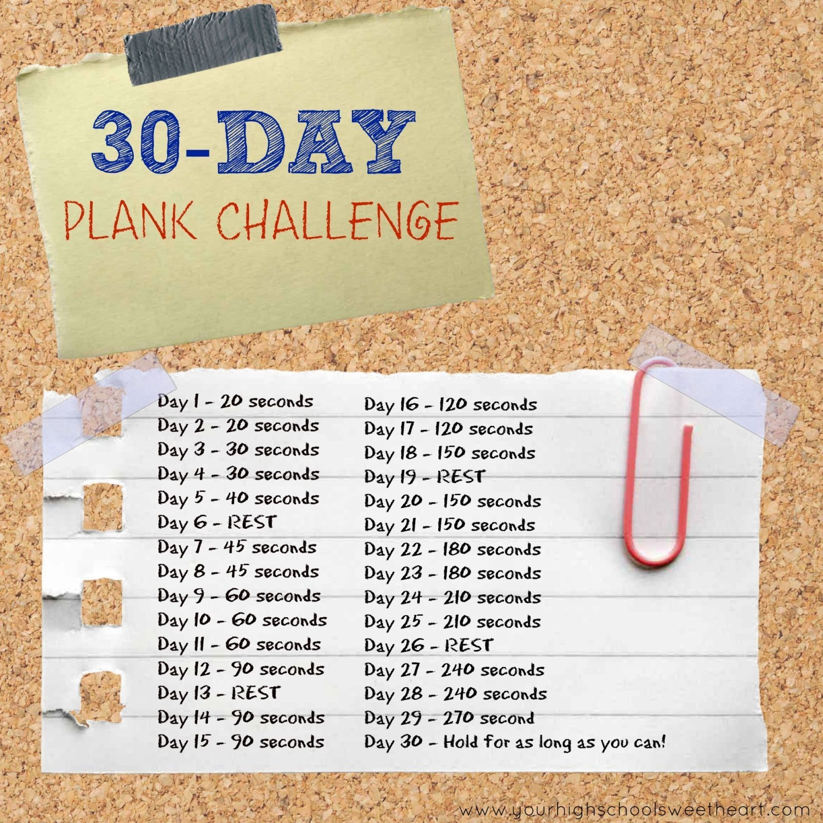 30-Day Plank Challenge  In 30 Words | 30 Day Plank