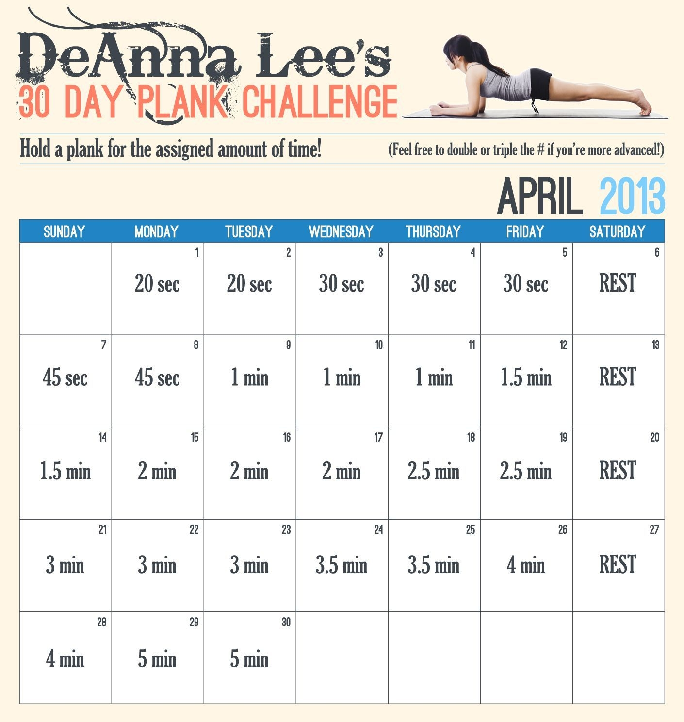 30 Day Plank Challenge. There Is Also A Free App For This