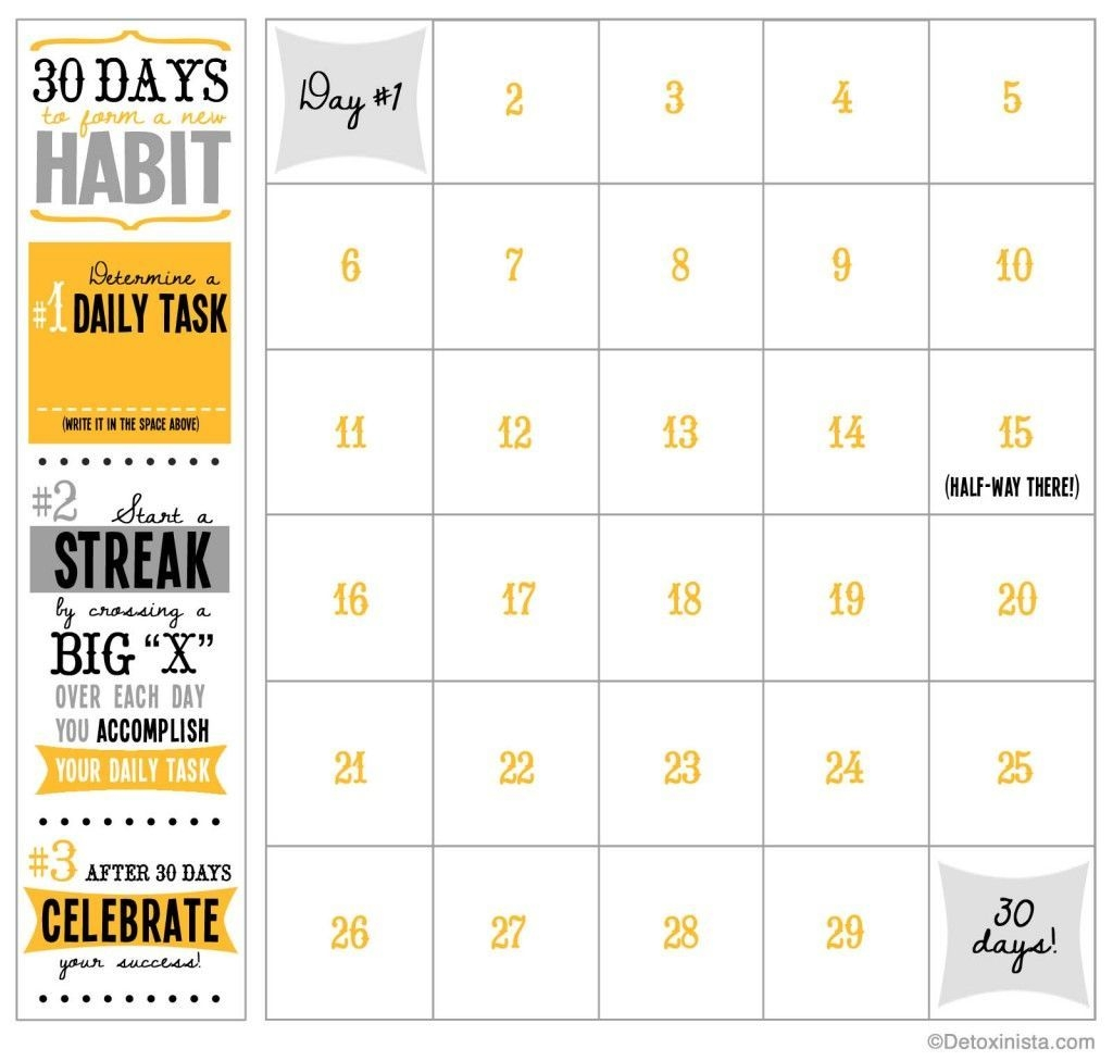 30-Day Printable Calendar | Workout Calendar, Workout