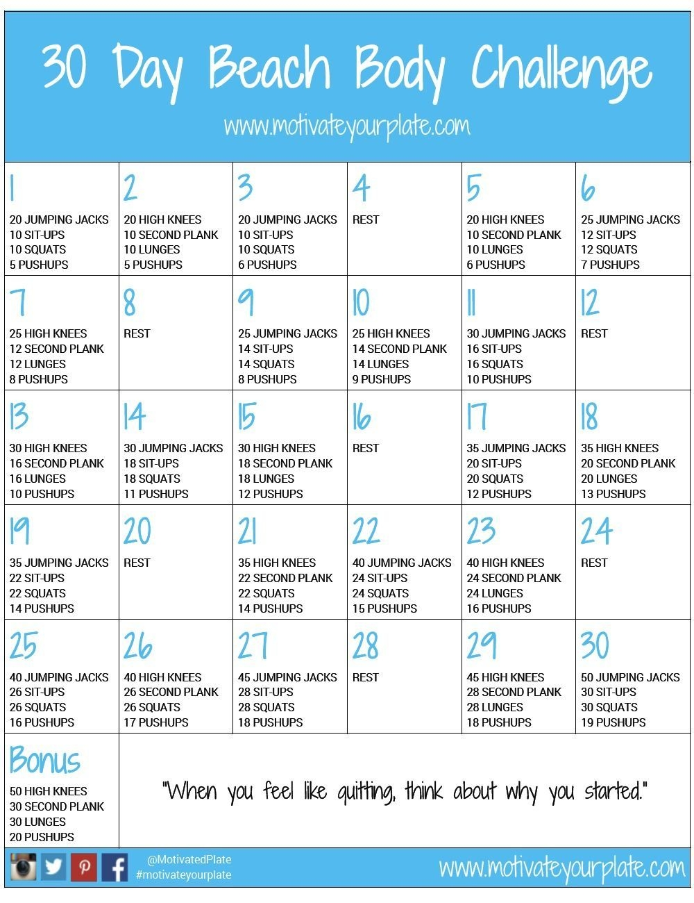 30 Day Printable Workout Schedule | 30 Day Beach Body