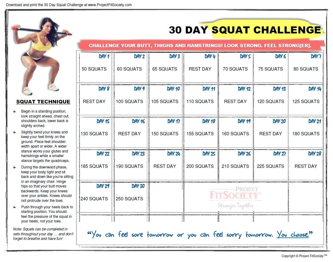 30-Day Squat Challenge Calendar | Click Here To Download The