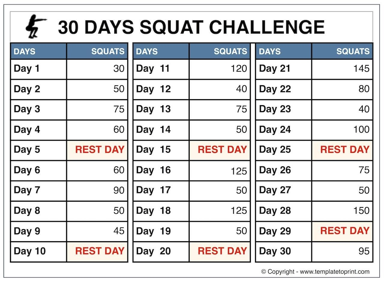 30-Day-Squat-Challenge-For-Beginners » Template To Print