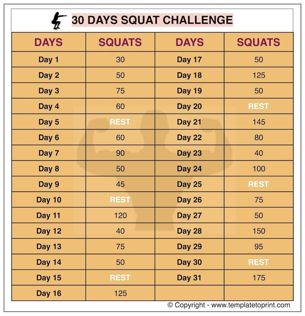 30 Day Squat Challenge Printable Calendar | Squat Workout At