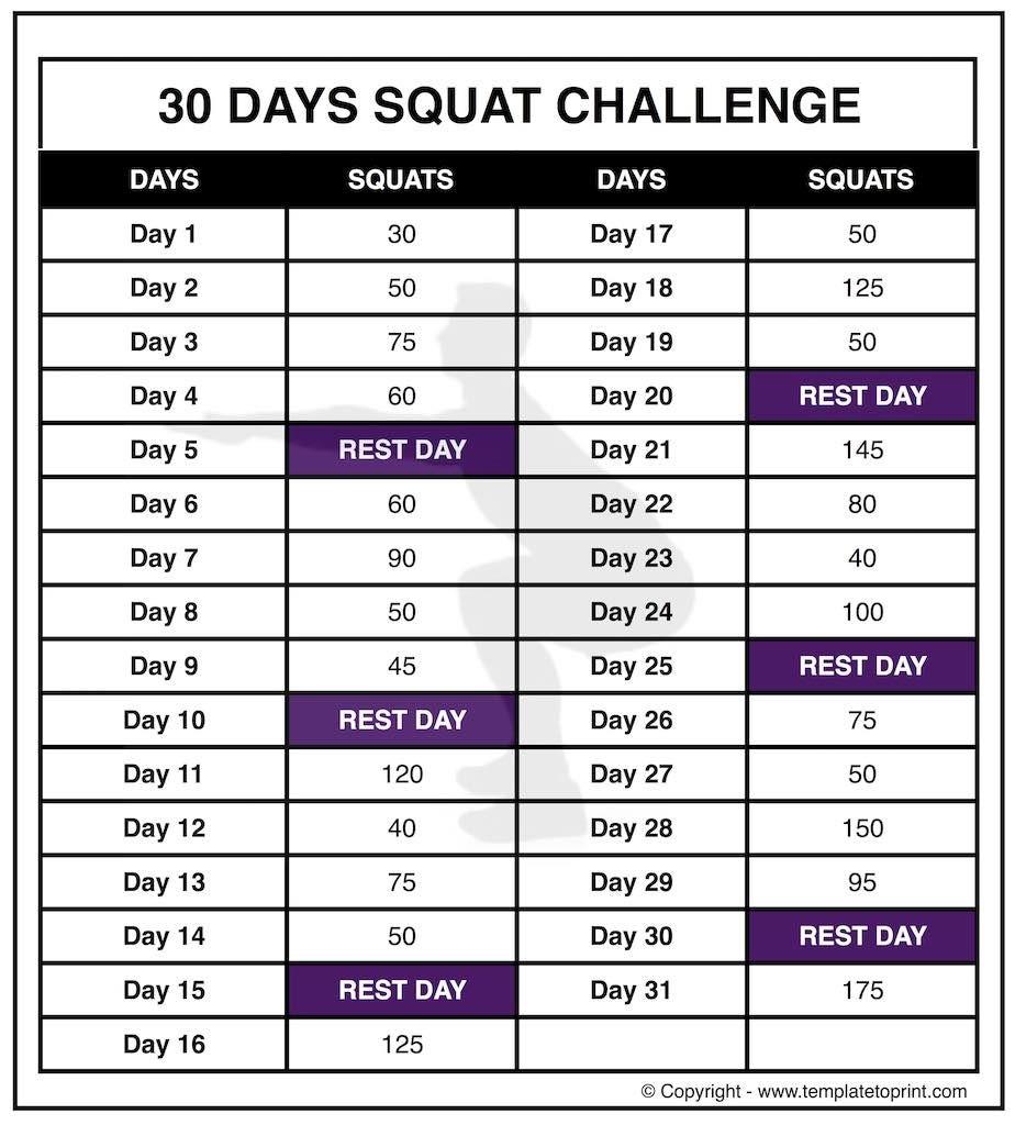 30 Squat Challenge Printable Calendar | Chart | Legs Workout