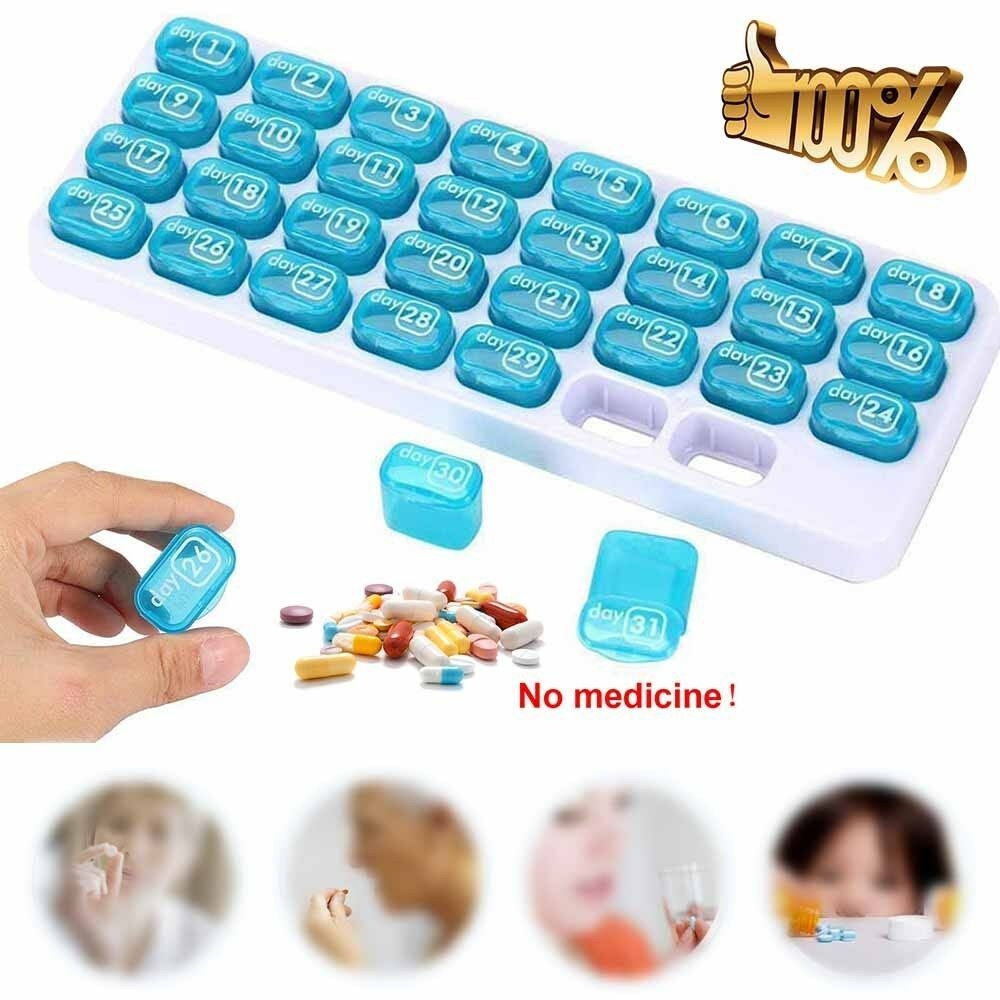 31 Days Month Weekly Medicine Storage Tablet Pill Sorter Pill Case  Organizer Box