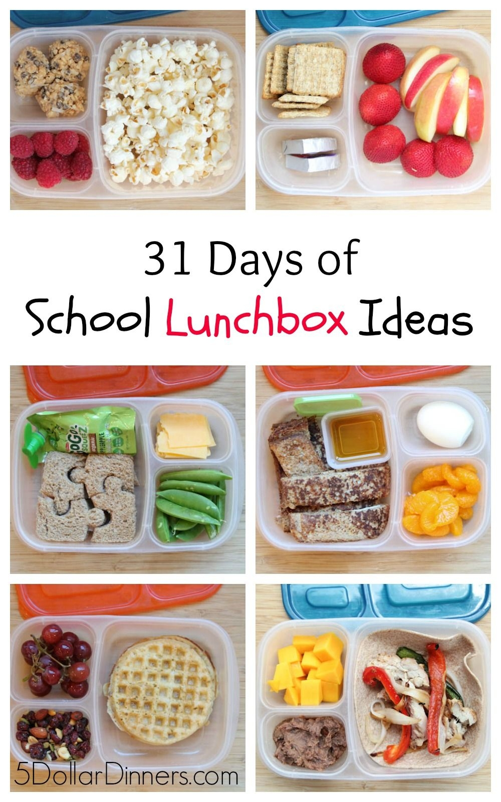 31 Days Of School Lunchbox Ideas - $5 Dinners | Recipes