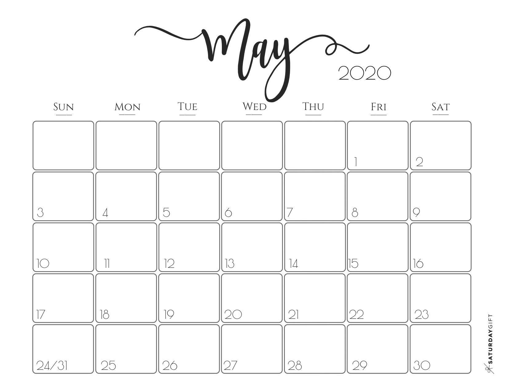 33 Printable Free May 2020 Calendars With Holidays - Onedesblog