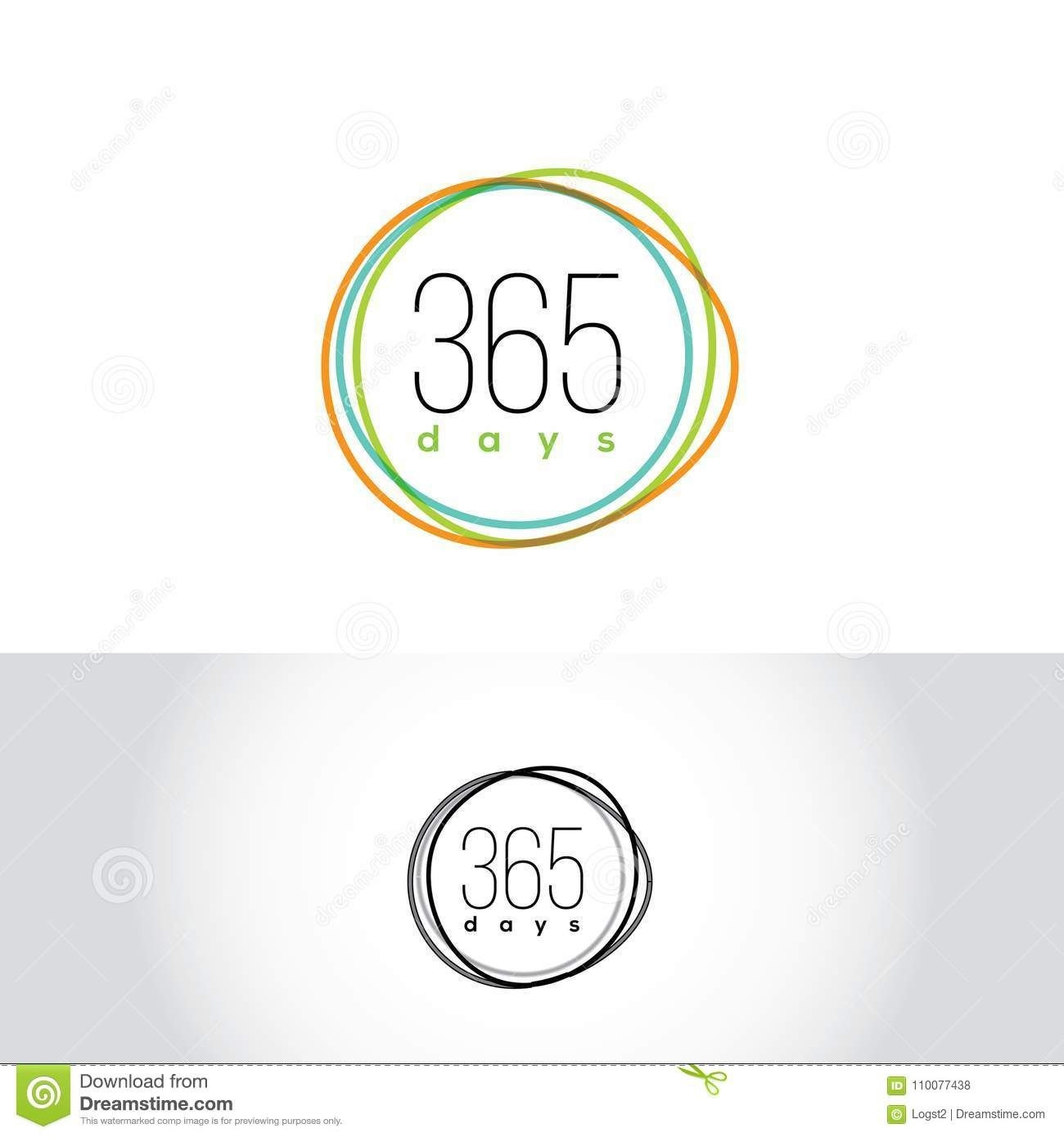 365 Days Vector Logo. Calendar Emblem.. Seasons Label Stock