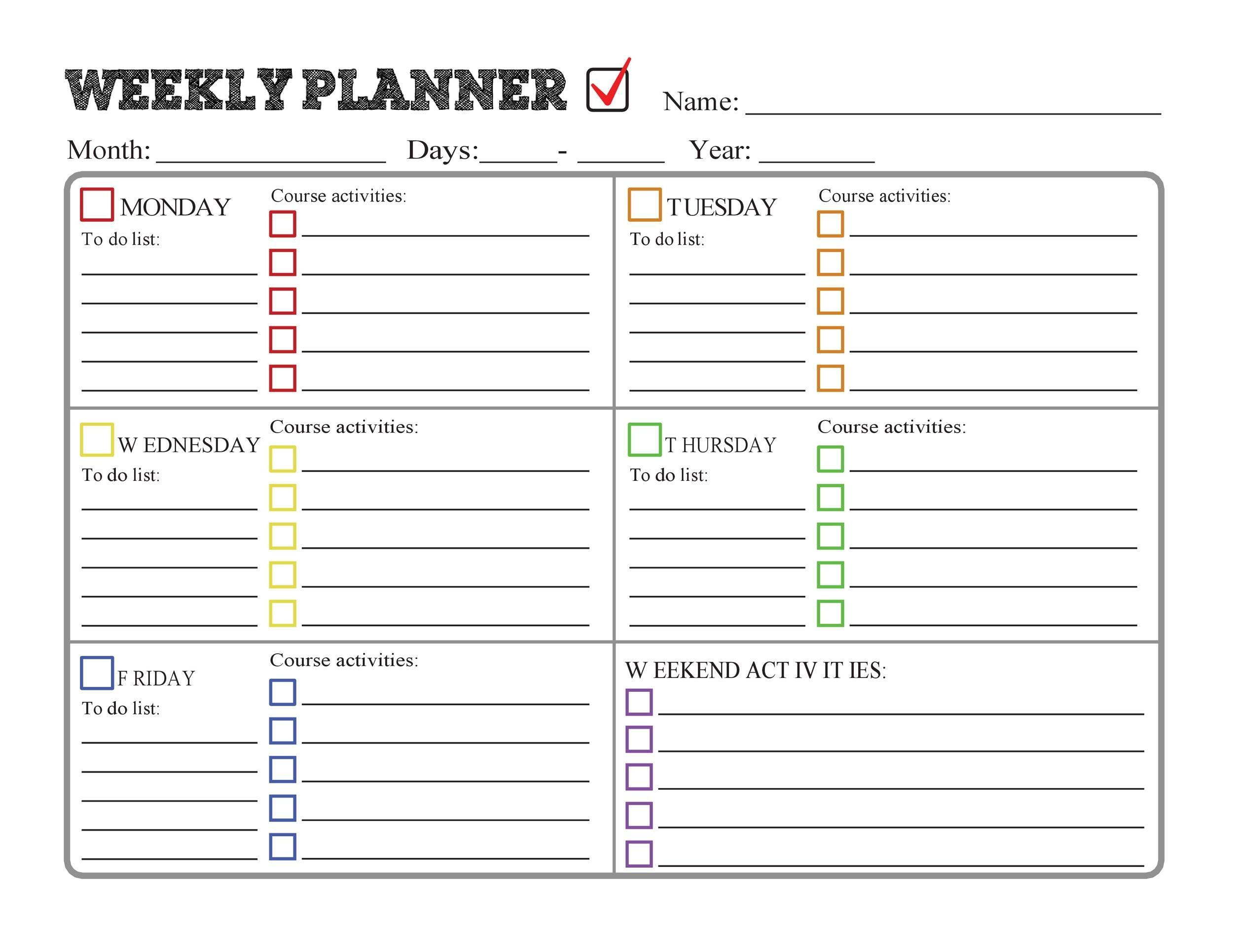 37 Printable Homework Planners (Only The Best) ᐅ Templatelab