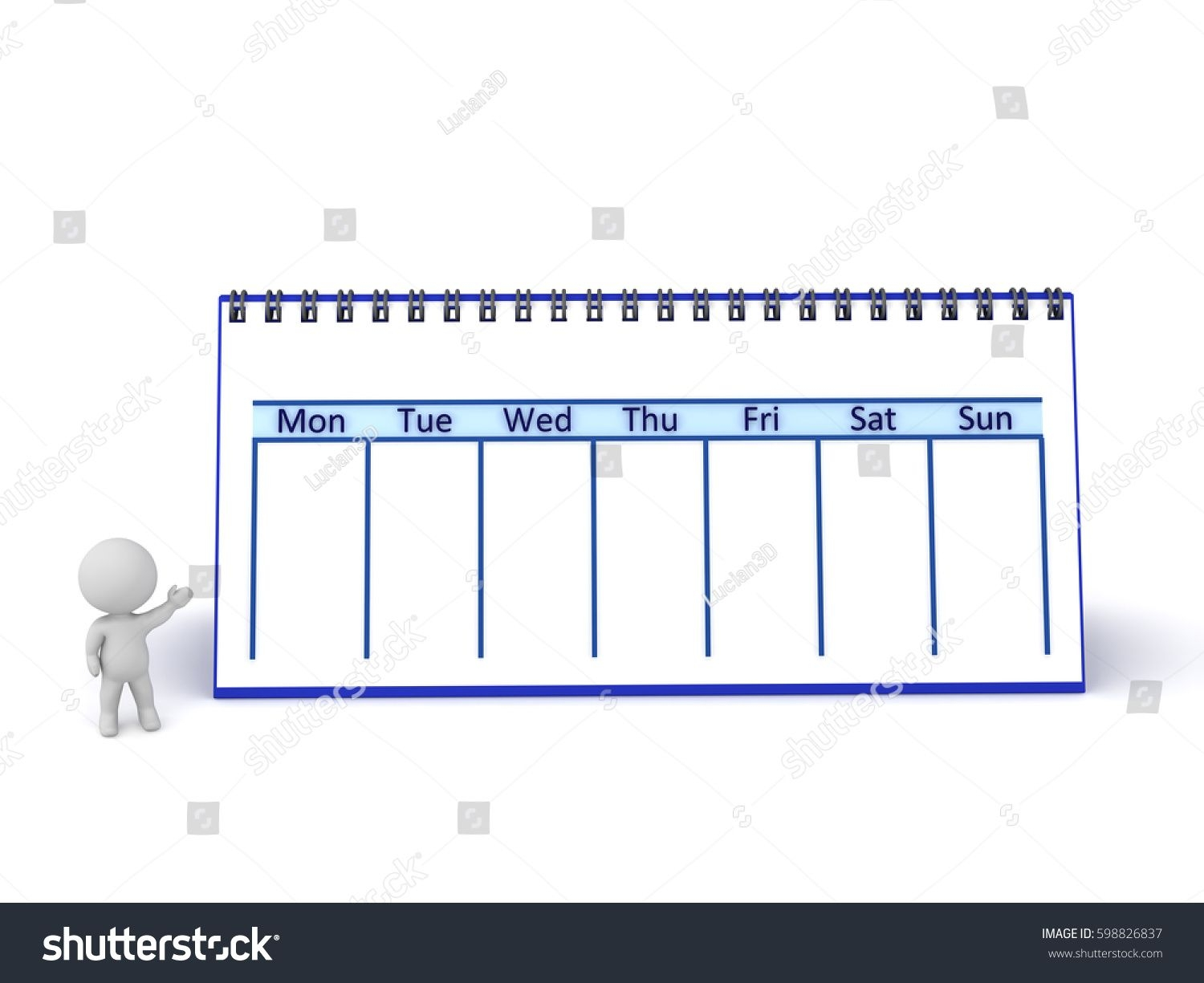 3D Character Large Calendar Showing One Stock Illustration