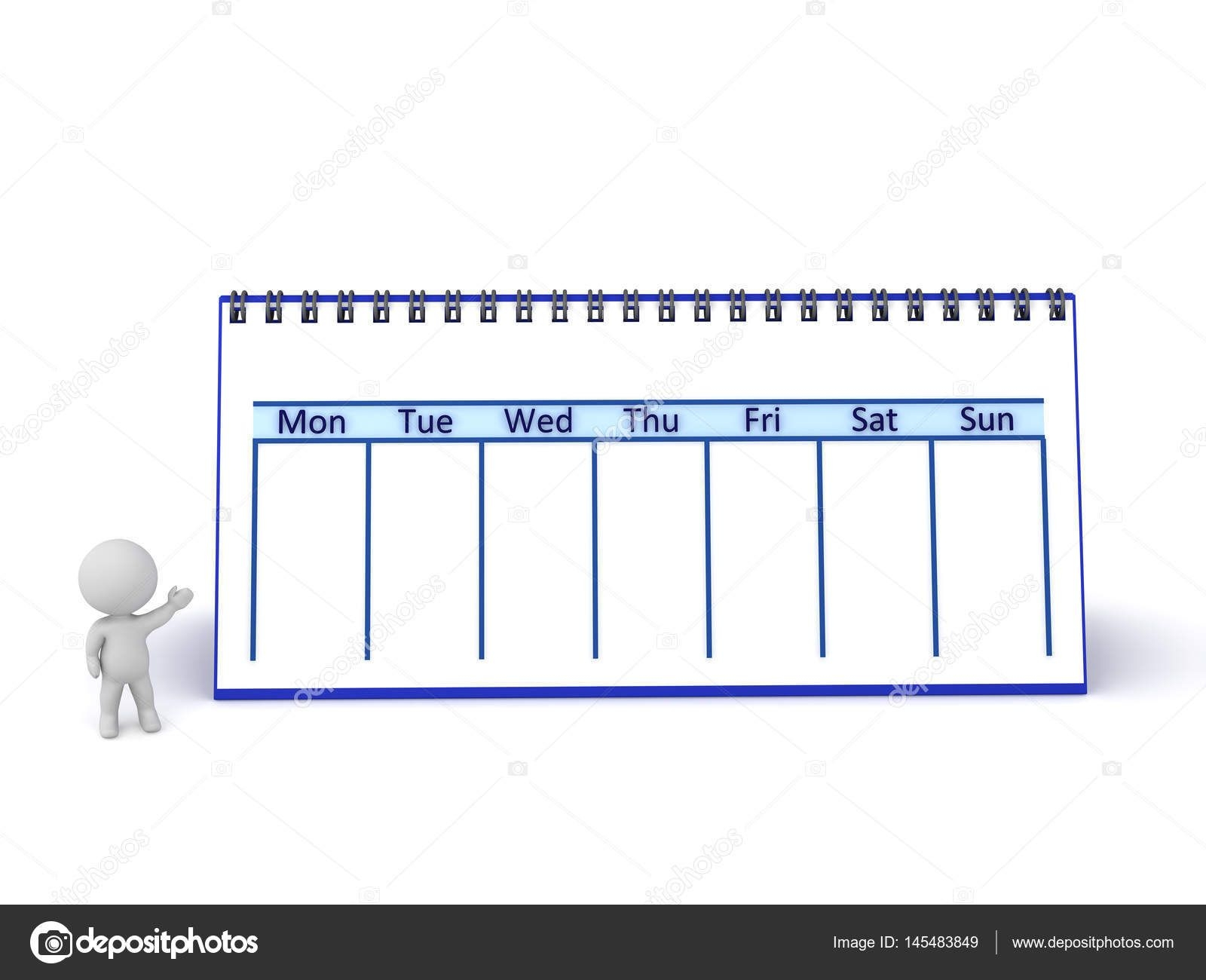 3D Character Showing Large Week Calendar — Stock Photo