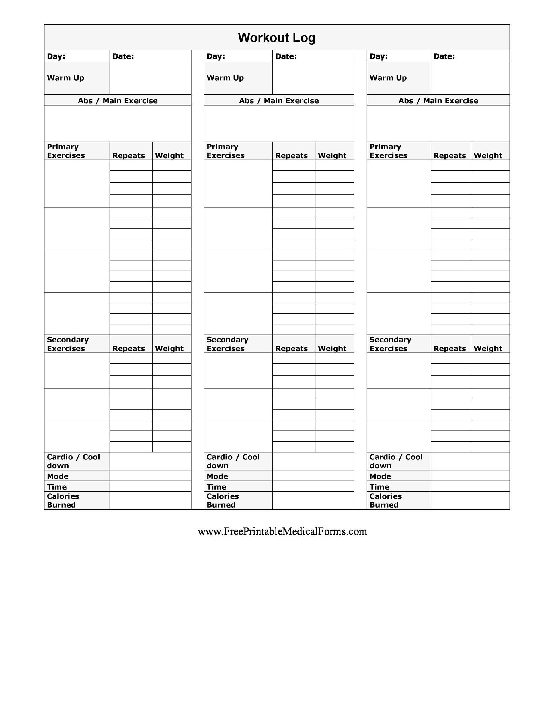 40+ Effective Workout Log & Calendar Templates ᐅ Templatelab