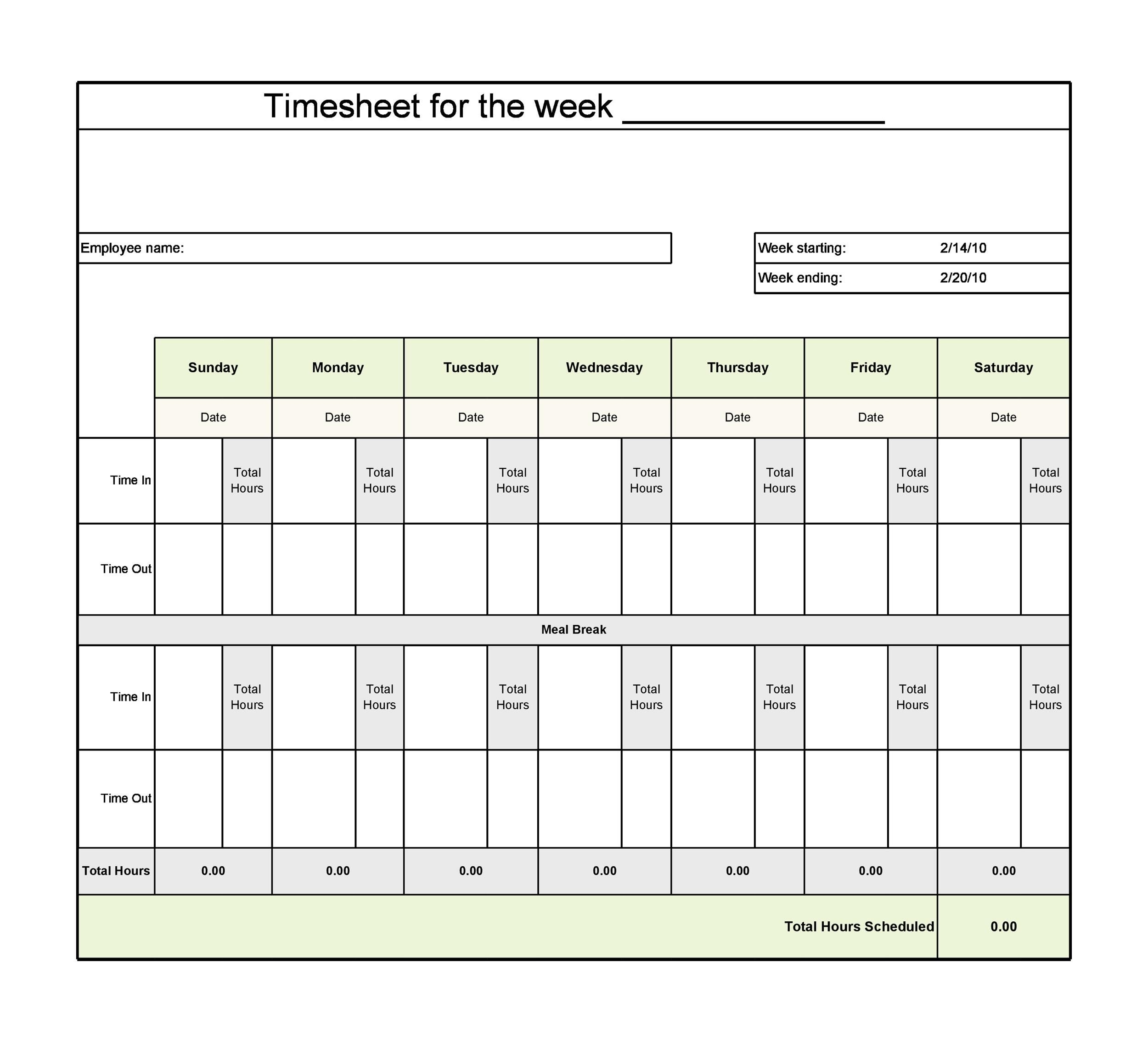 40 Free Timesheet Templates [In Excel] ᐅ Templatelab