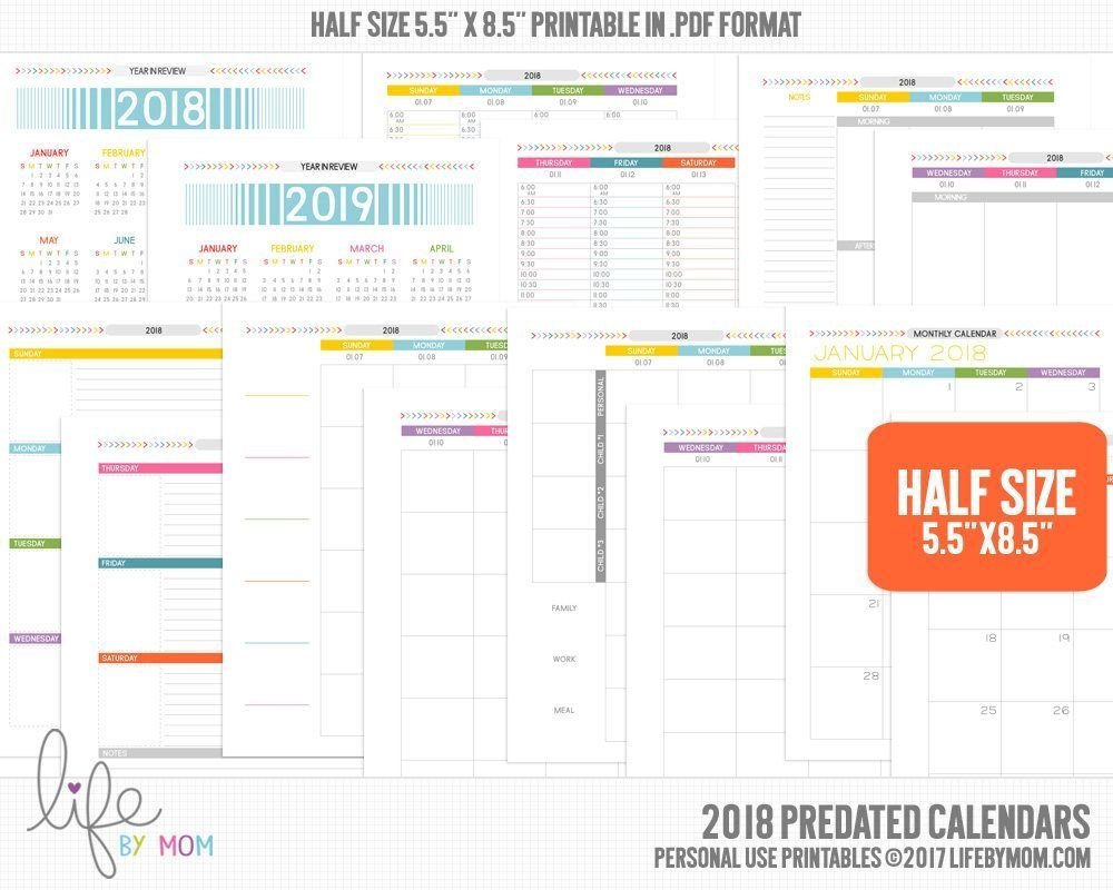 5.5 X 8.5Printable Pdf 2018 Planner Calendars (With Images
