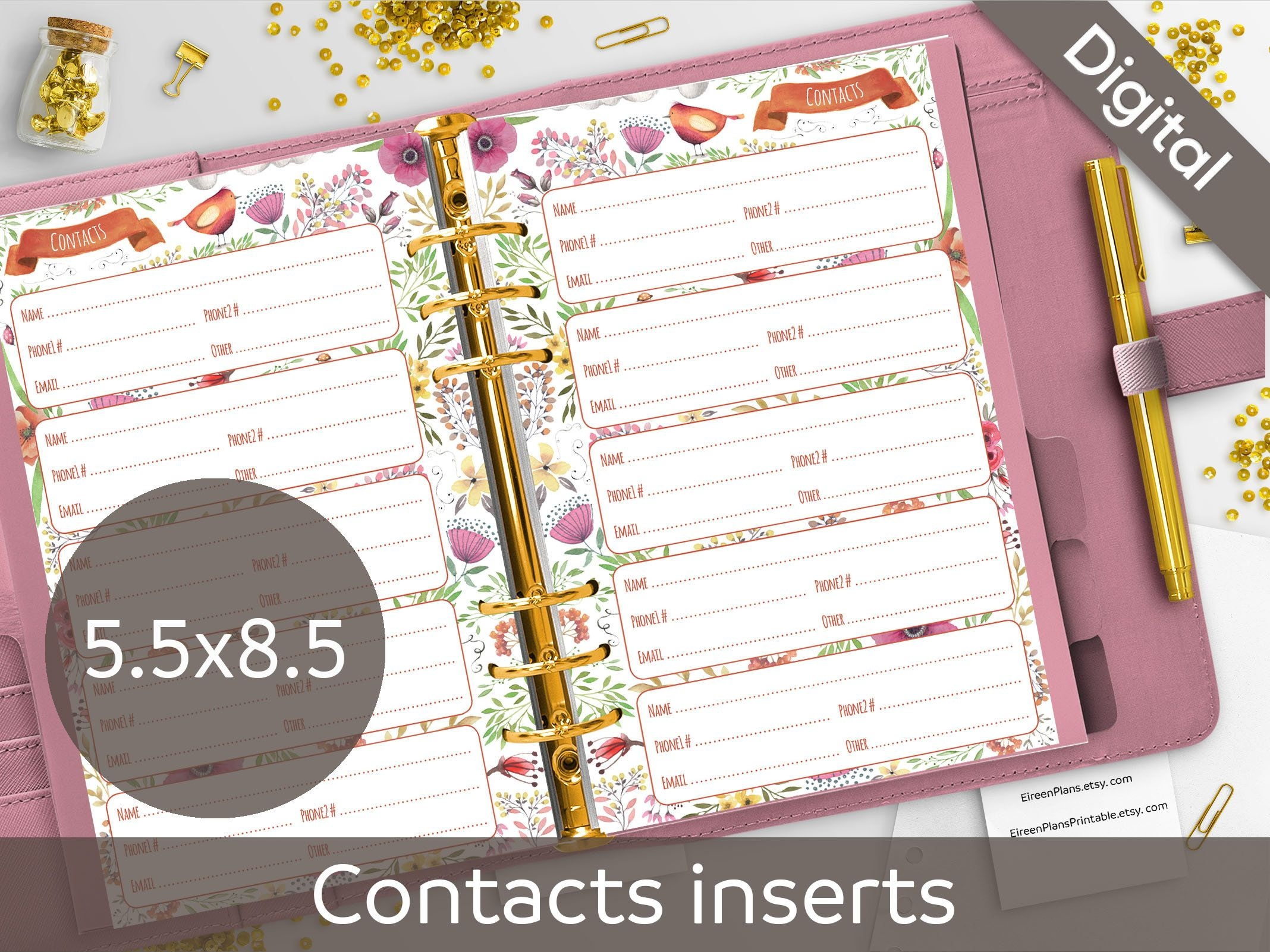 5.5X8.5 Contacts Pages Printable, Contact Sheets, Half Size, Junior Size  Pdf, Nilaria Red Bird, Floral Inserts, Diy Planner Instant Download