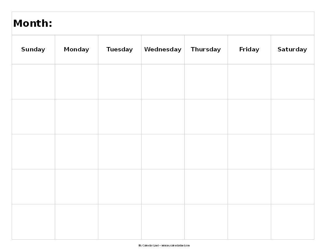 5 Day Printable Calendar - Bance