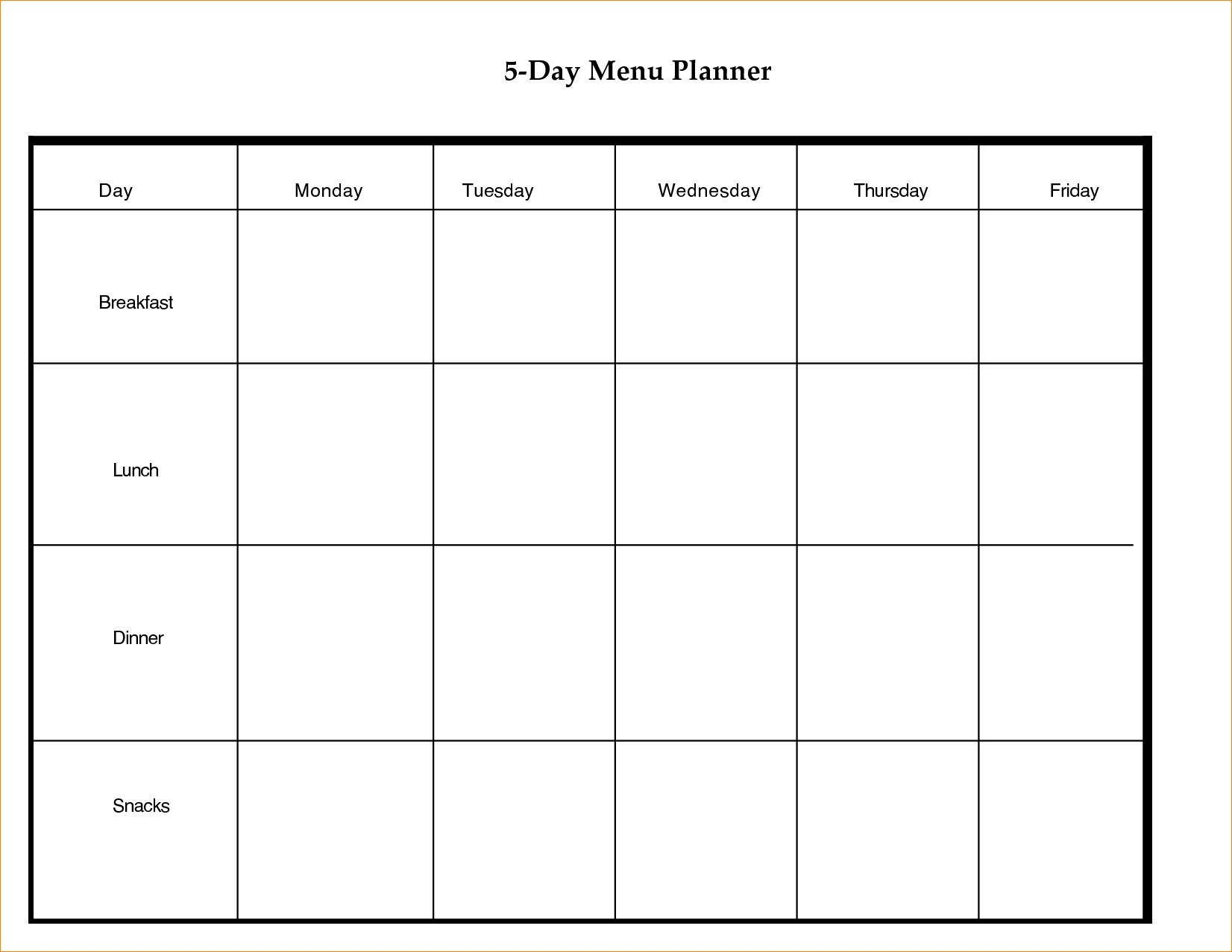 5 Day Weekly Calendar Template - Bance
