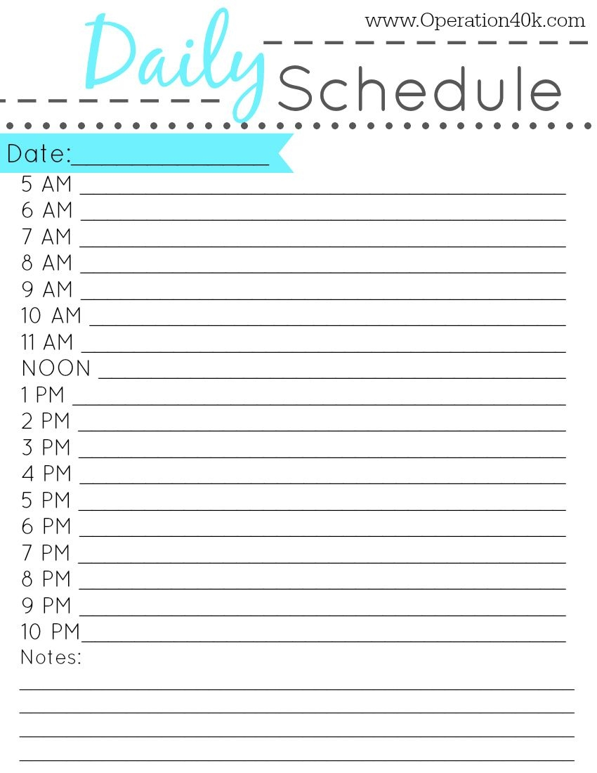 6 Best Images Of Printable Daily Schedule By Hour - Free