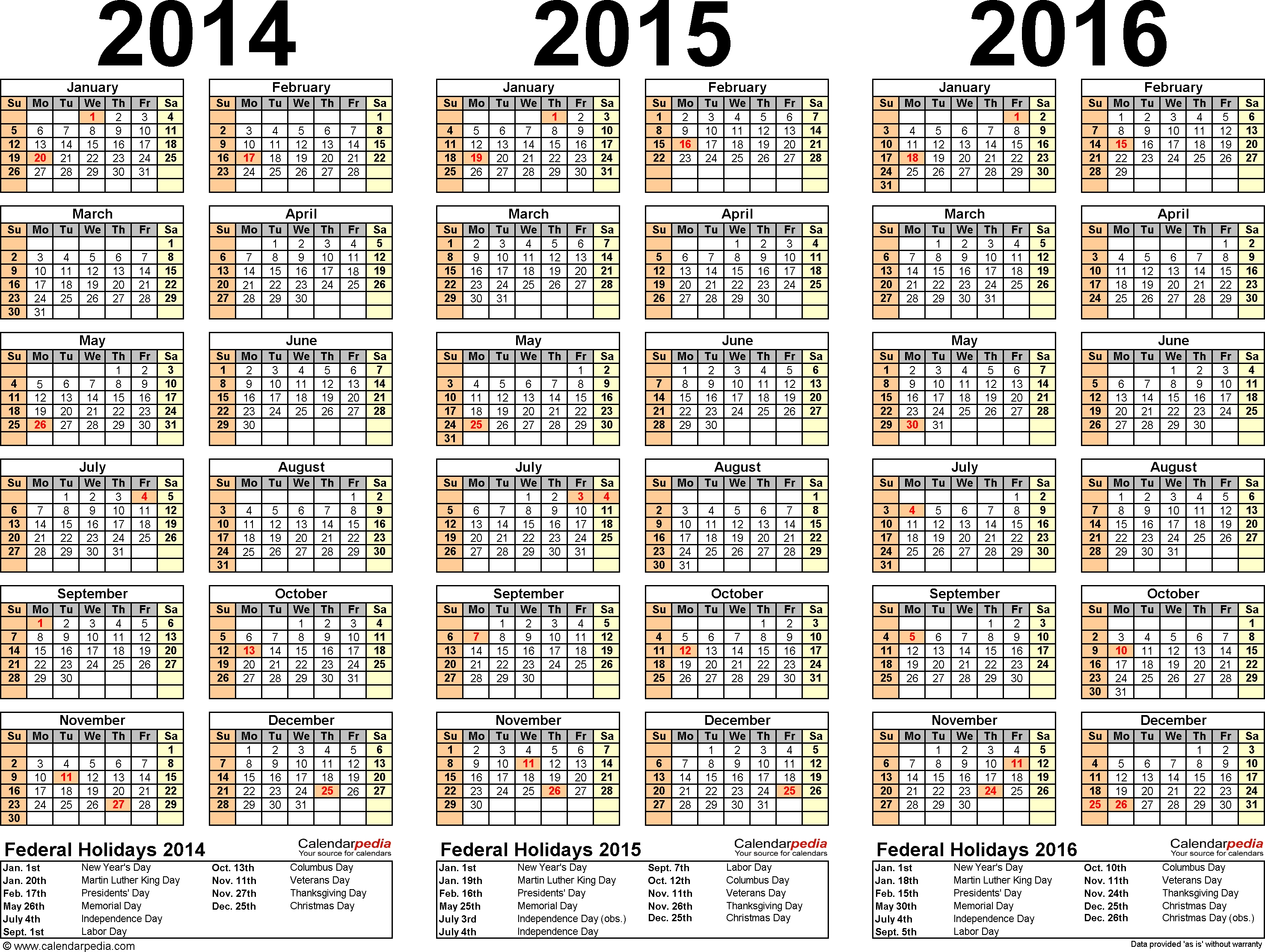 7 Best Images Of 2014 2015 2016 Printable Yearly Calendar