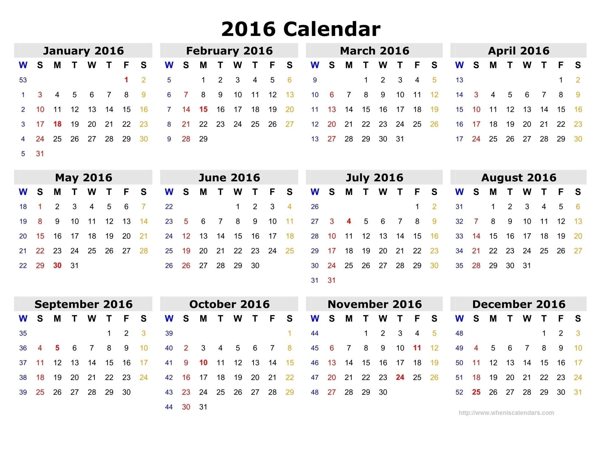 7 Best Images Of 2016 Calendar With Week Numbers Printable