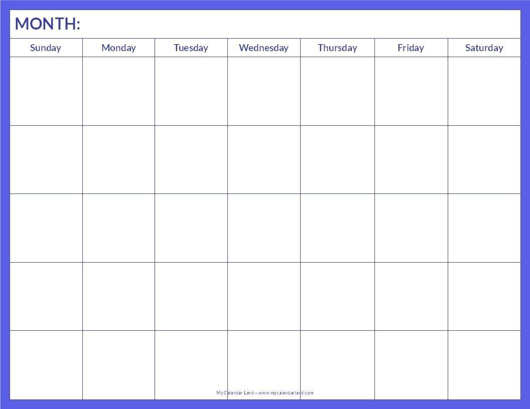 7 Best Images Of Blank Printable Calendar Pages - Free