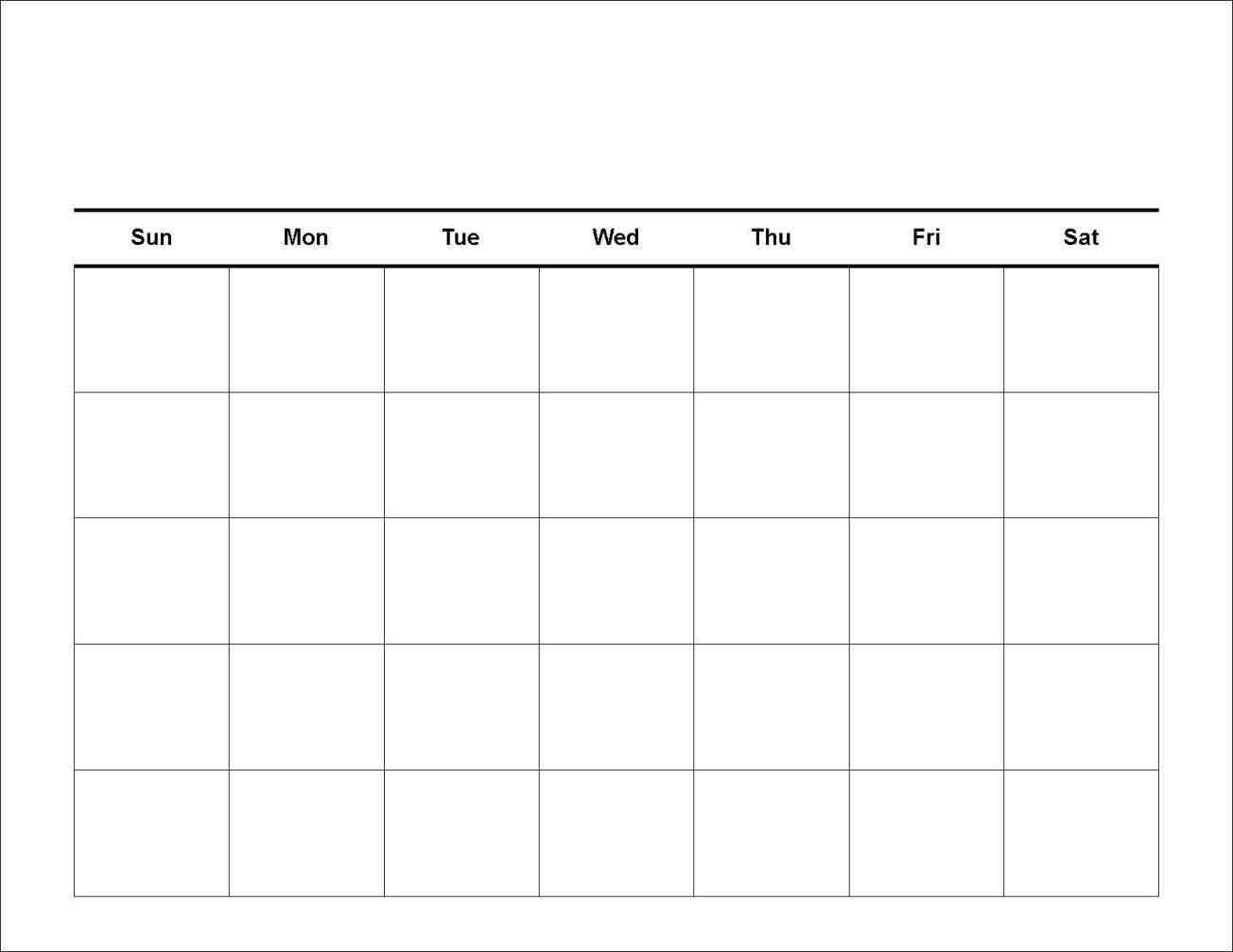 7 Day Calendar Template | Printable Calendar Grid, Weekly