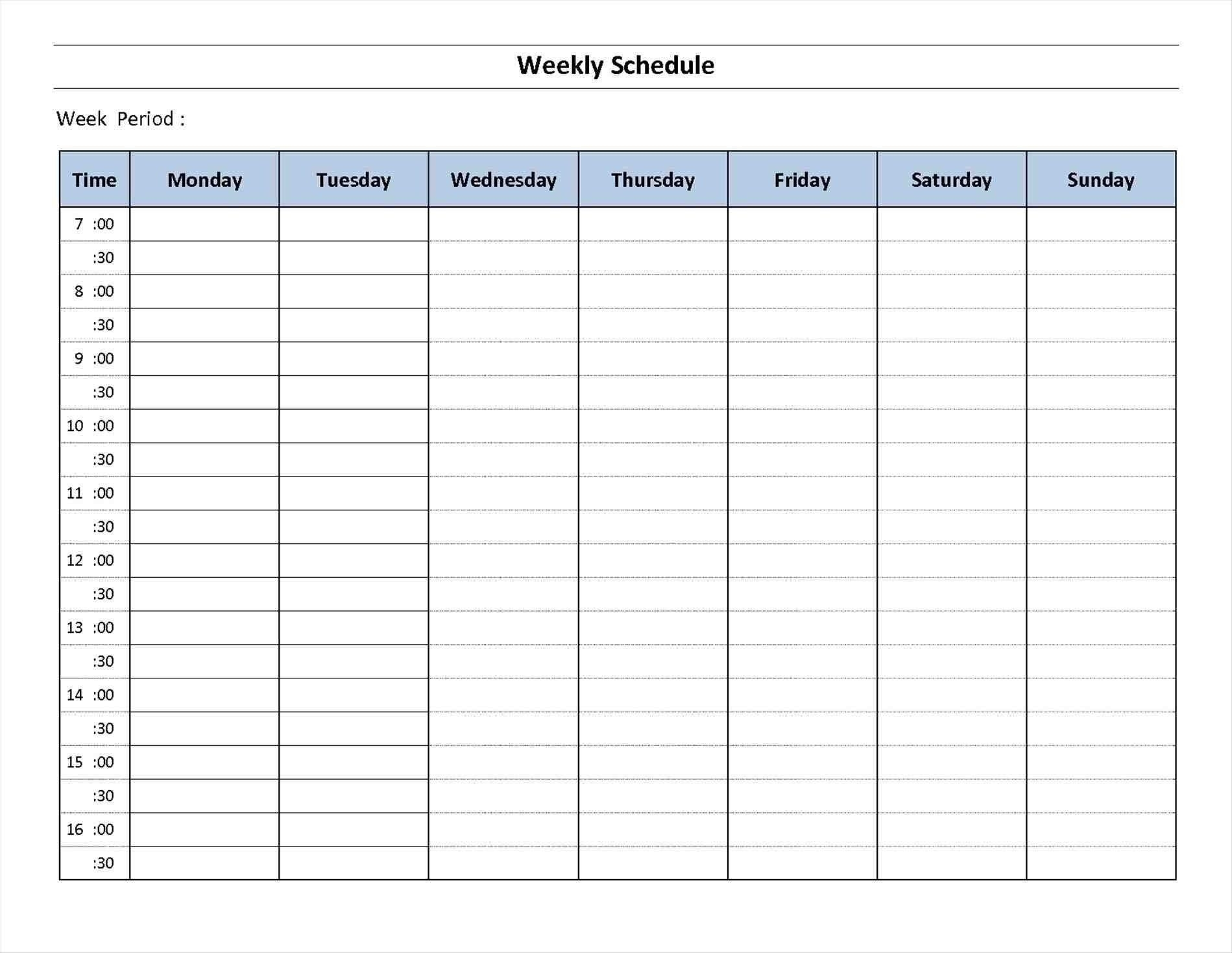 7 Day Week Calendar Printable   Template Calendar Printable
