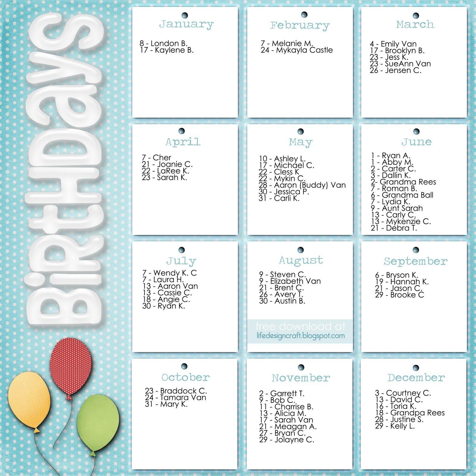 8 Best Images Of Office Birthday List Printable - Printable