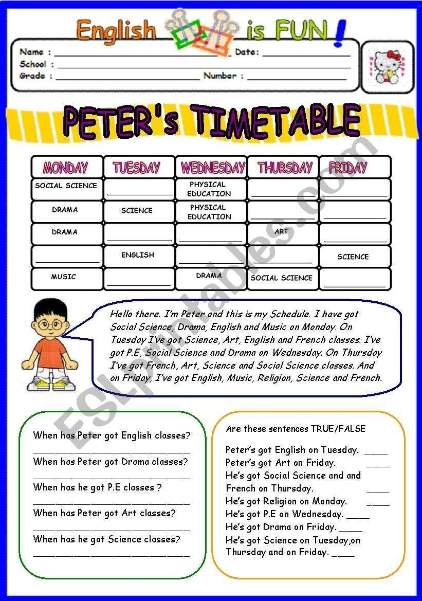 A Worksheet On School Subjects And Timetable With Fill In
