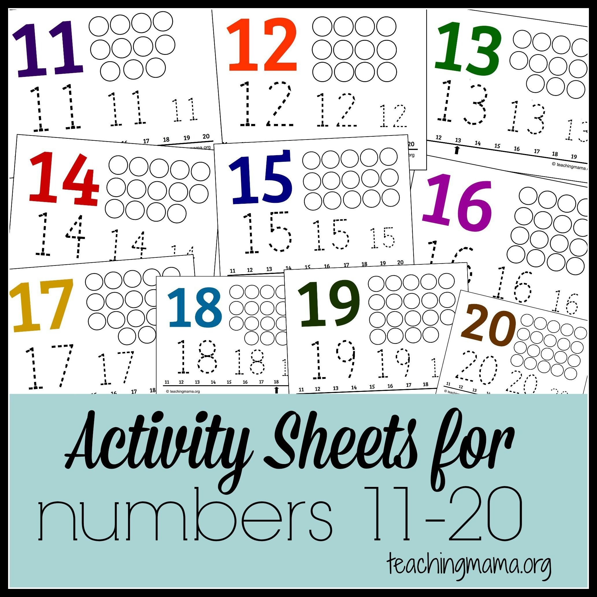 Activities For Numbers 11-20