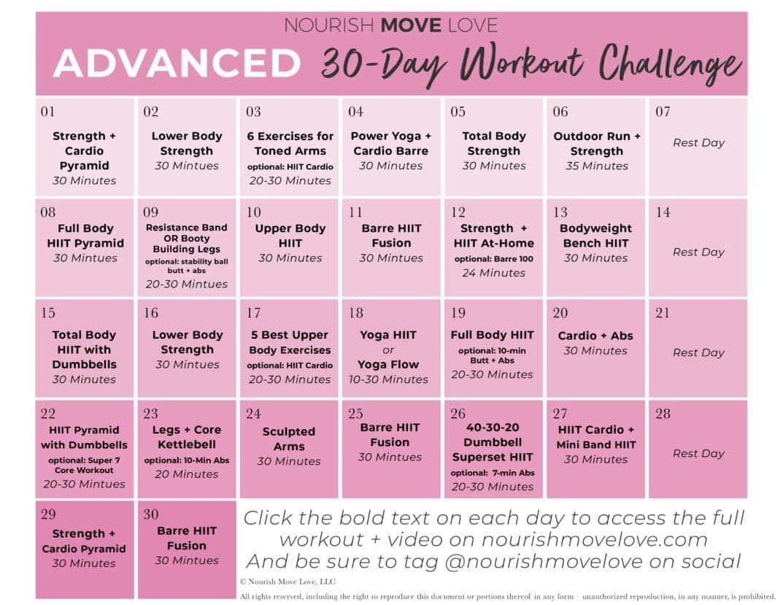 Advanced Workout Plan + 30-Day Workout Calendar | Nourish