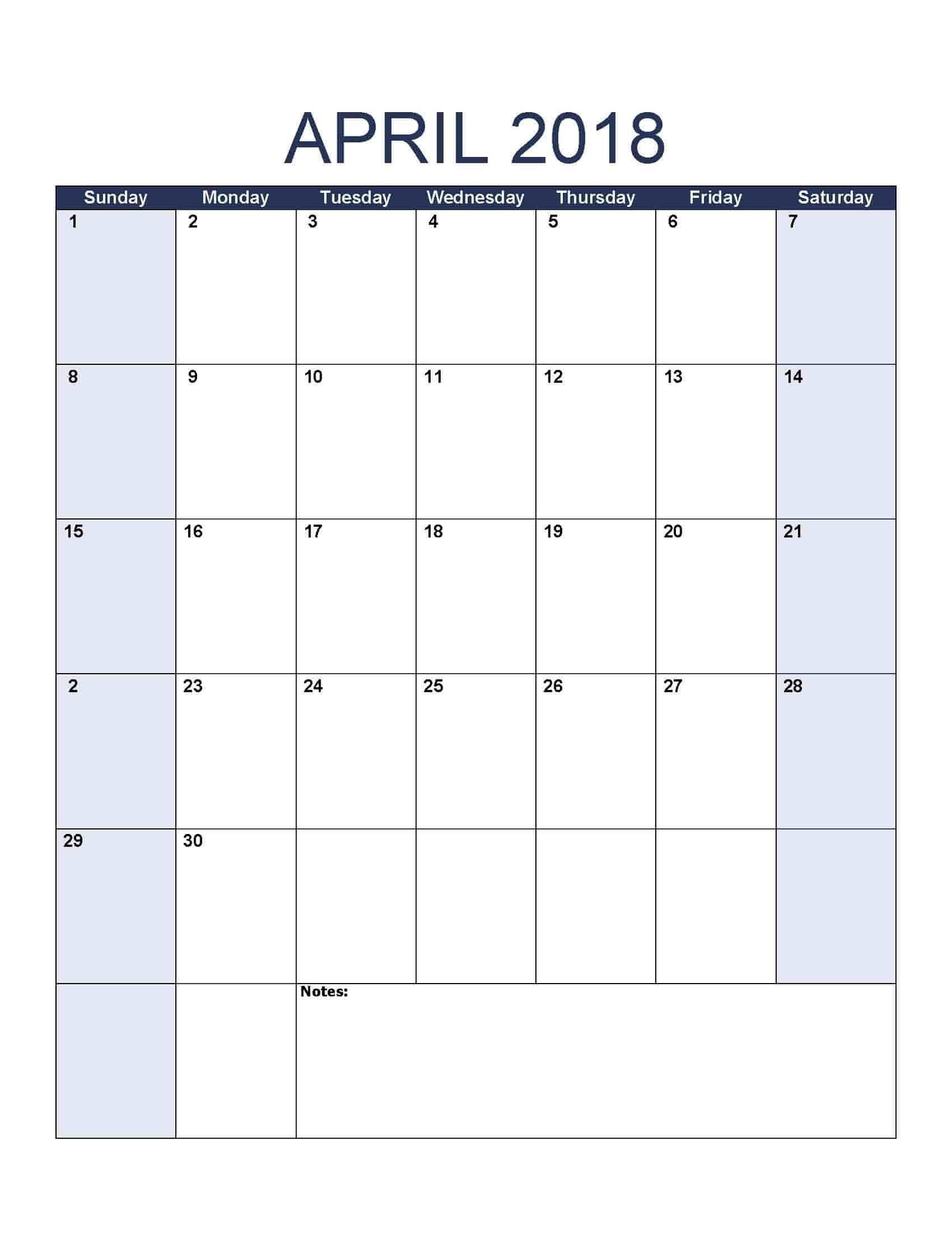 April 2018 Calendar - Free, Printable Calendar Templates