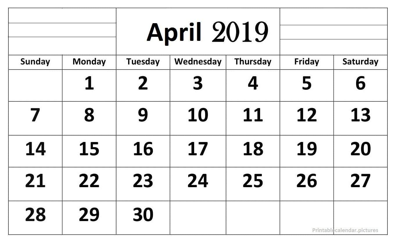 April 2019 Calendar Printable Large Print (With Images