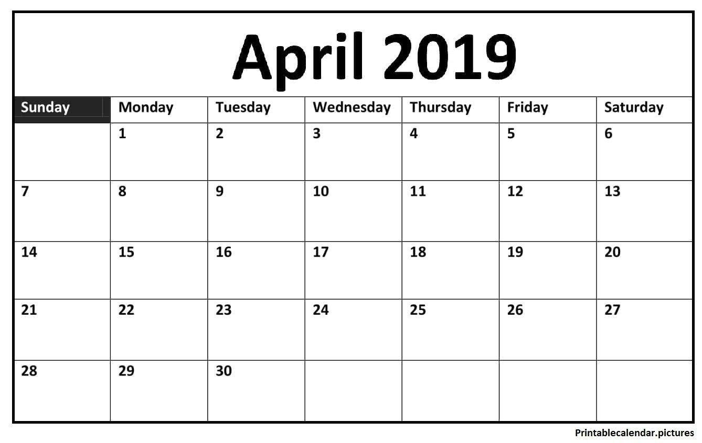 April 2019 Calendar Printable Template In Pdf, Word, Notes
