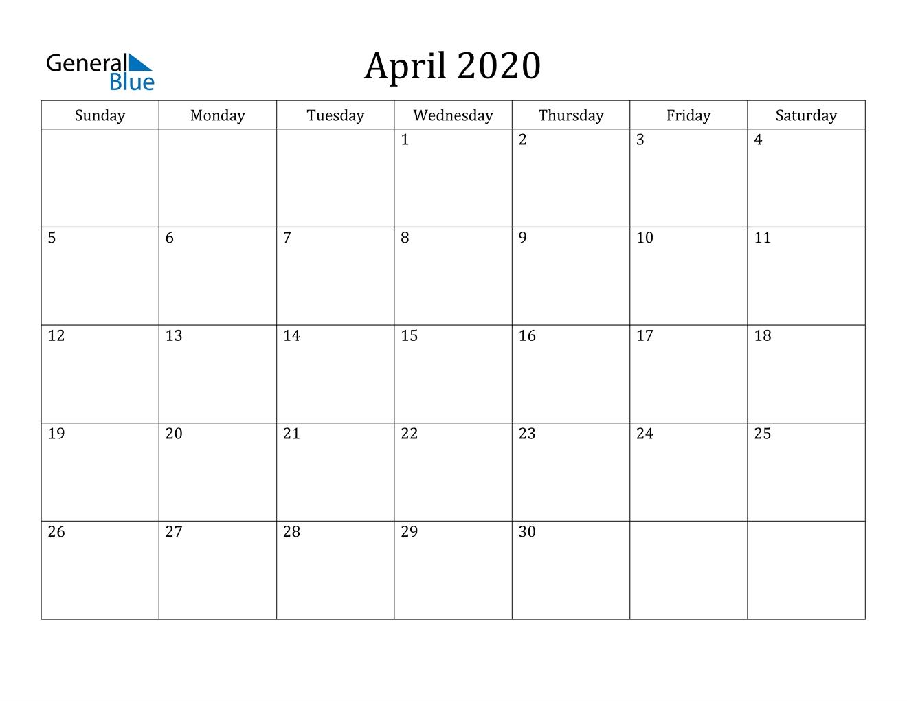 April 2020 Calendar - Pdf Word Excel