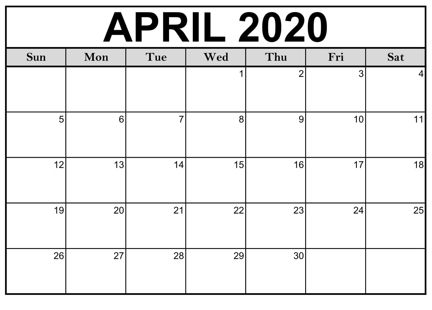 April 2020 Calendar Printable Monthly Calendar - Idea Hunt