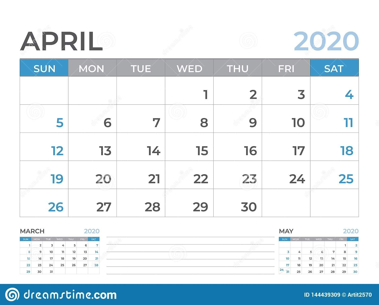 April 2020 Calendar Template, Desk Calendar Layout Size 8 X