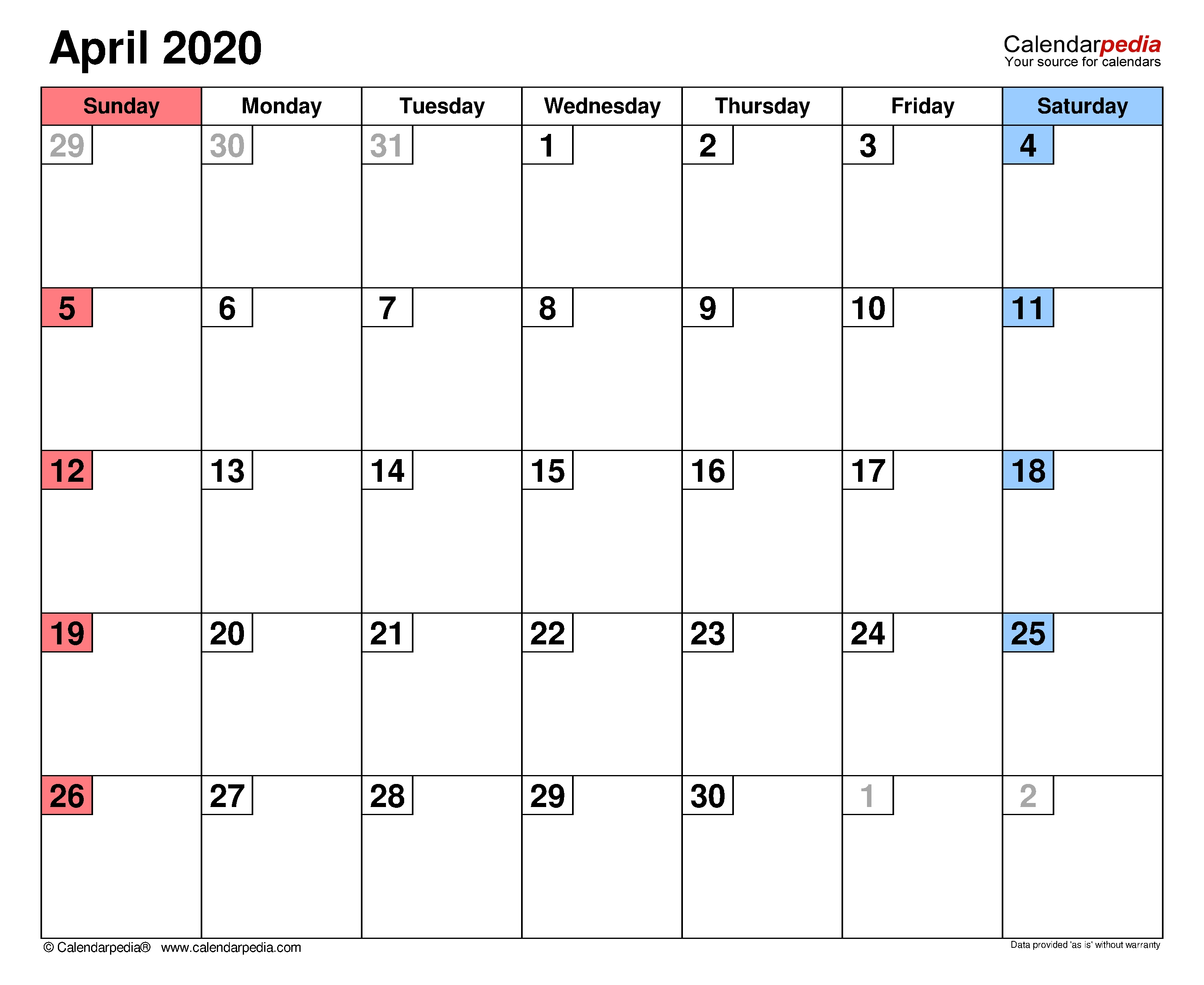 April 2020 - Calendar Templates For Word, Excel And Pdf