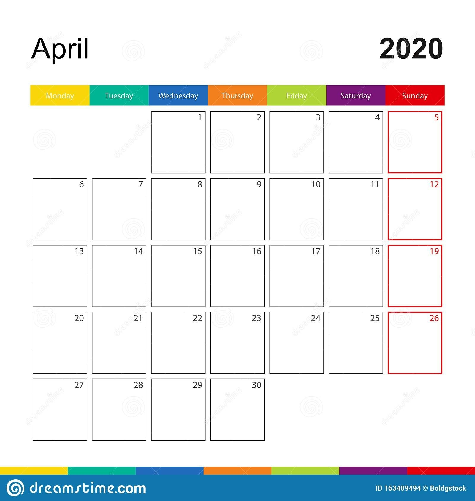 April 2020 Colorful Wall Calendar, Week Starts On Monday