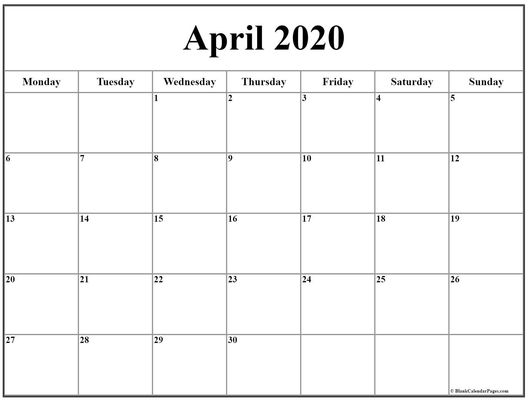 April 2020 Monday Calendar | Monday To Sunday