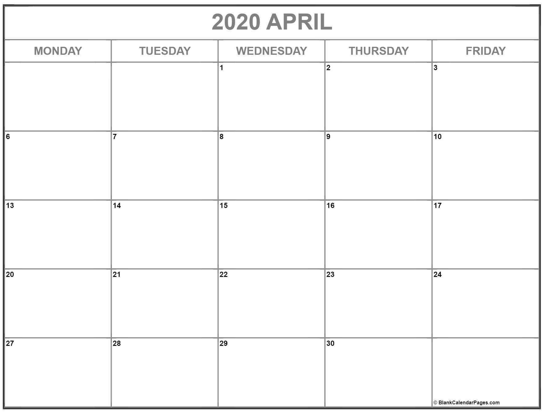 April 2020 Monday Calendar   Monday To Sunday