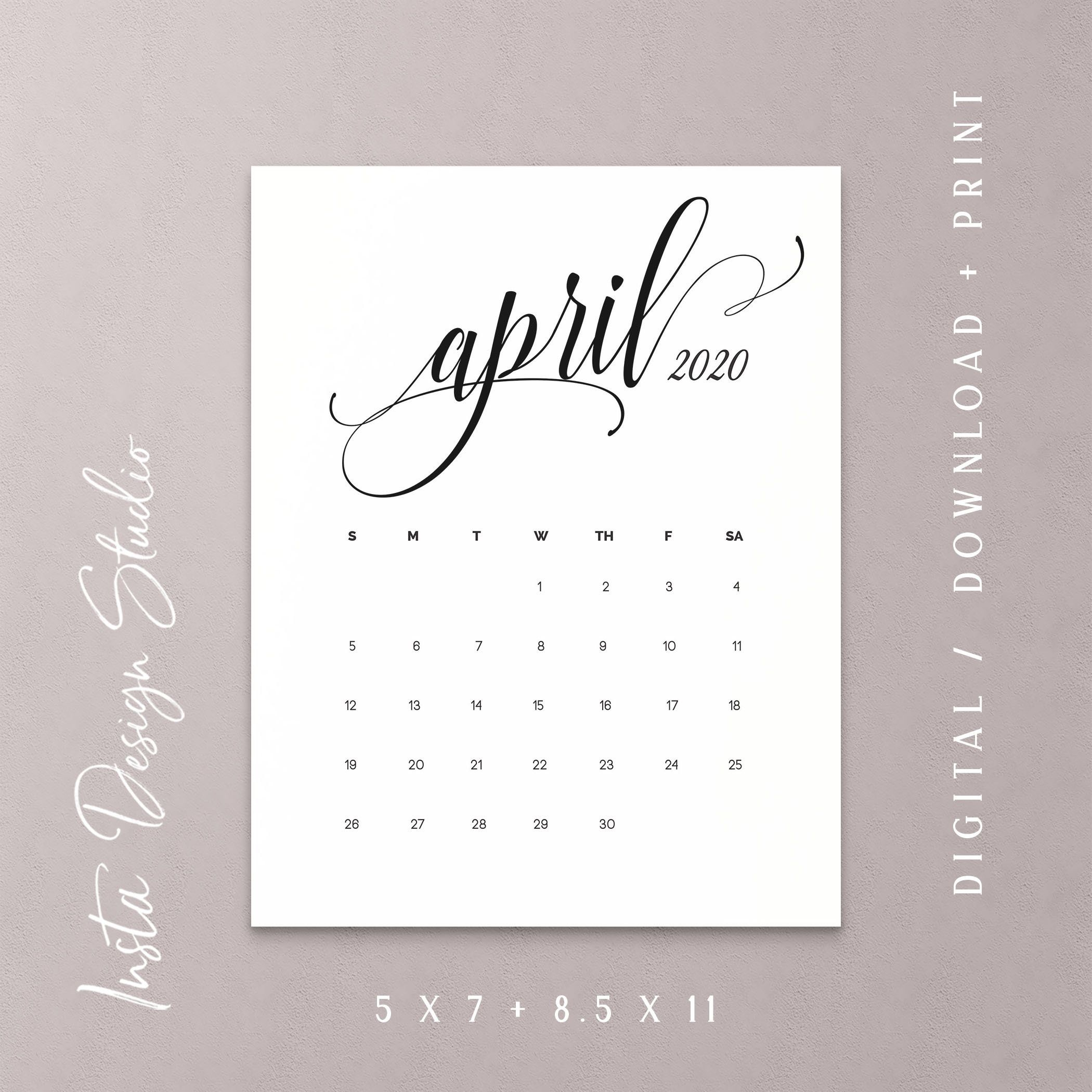 April 2020 Printable Pregnancy Baby Announcement Calendar Social Media Flat  Lay Photo Prop Due Date Save The Date Digital File Download